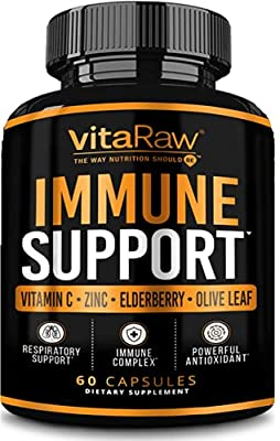 VitaRaw Immune Support Vitamins - Zinc, Elderberry, Vitamin C, Echinacea, Olive Leaf, Goldenseal   Powerful Immunity Booster Capsules for Adults   Immune System Booster Supplement