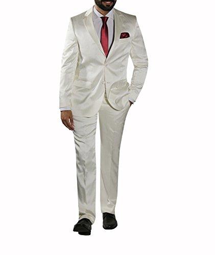 MMUGA Herren Hochzeitsanzug Glanz mit Streifen Creme 54