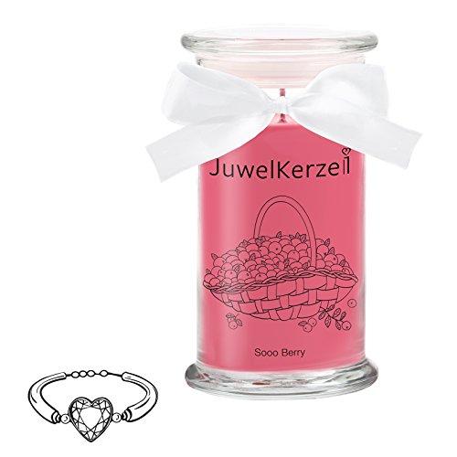 JuwelKerze Sooo Berry - Kerze im Glas mit Schmuck - Große rote Duftkerze mit Überraschung als Geschenk für Sie (Silber Armband, Brenndauer : 90-125 Stunden)