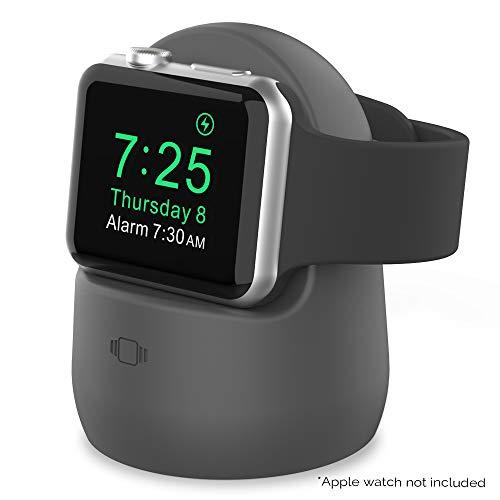 AHASTYLE iWatch Stand Silicone Charging Dock Holder Accessories per Apple Watch Series SE/6/5/4/3/2/1(44/42/40/38mm), Supporta la modalità comodino 【Adattatori NON inclusi】 (Grigio Scuro)