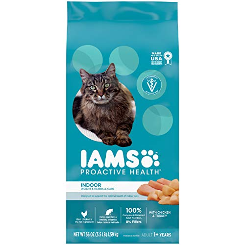 IAMS PROACTIVE HEALTH Adult Indoor Weight Control & Hairball Control Dry Cat Food with Chicken & Turkey, 3.5 lb. Bag