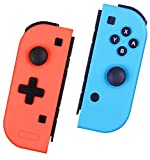 Controller Replacement for Nintendo Switch, L/R Pro Remote Wireless Controller Comfort Grips Gamepad Plug and Play Auto Connect Compatible with Nintendo Switch Console - Red and Blue