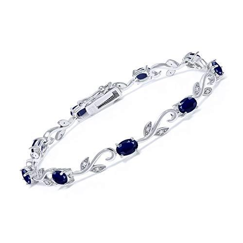 Gem Stone King 925 Sterling Silver Blue Sapphire and Diamond Greek Vine Tennis Bracelet 5.12 Ct Oval 7 Inch Gemstone Birthstone