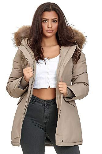 Elara dames winterparka echt bont jas jas jas chunkyrayan