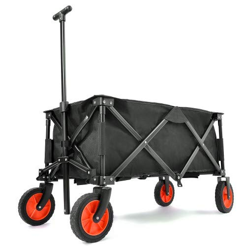 grau bonsport Bollerwagen faltbar mit 360/° R/ädern drehbar und gepolstertem Handgriff