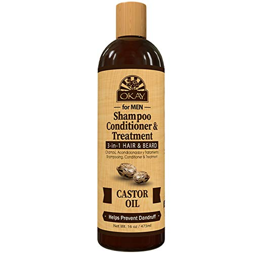 OKAY   Shampoo, Conditioner & Treatment 3-in-1   Hair & Beard   Men s Castor Oil   For All Hair Types & Textures   Prevents Dandruff   Stimulate Hair Growth   Sulfate, Silicone & Paraben Free   16 oz