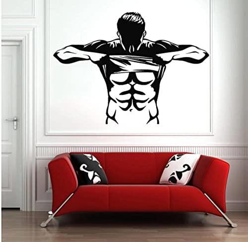 Calcomanías musculares para pared, gimnasio, ventana de vidrio, decoración de pared, deporte, culturismo, atleta, vinilo, calcomanías de pared, dormitorio, decoración fresca, 57x36 cm