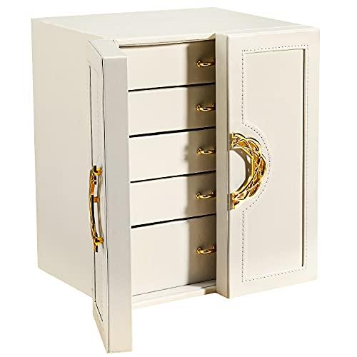 Gifort Schmuckkästchen, groß Schmuckbox, Schmuckaufbewahrung mit 5 Ebenen,mit Schubladen und Uhrenkissen,für Ringe, Ohrringe, Halsketten und Uhren, Damen Geschenke,Weiß