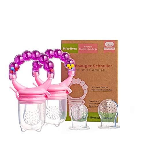 Fruchtsauger Schnuller für Obst und Gemüse - Bereits ab 3 bis 6 Monate geeignet und zu 100% bpa-frei für Babys (Rosa)