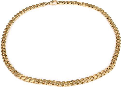 Cadena barbada de oro 585, 6 mm, para hombre, 45 cm, oro amarillo macizo, unisex