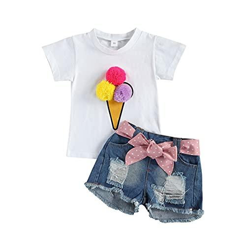 TiaoBug Baby Mädchen T-Shirt Kurzarm Top + Sommer Kurze Hose Sommer Shorts Hausanzug Outfits Kleinkinder Kleidung Set gr. 62 68 80 86 92 Weiß M 80-92