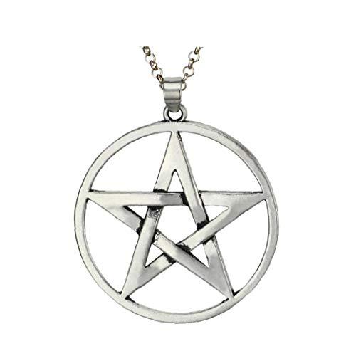 NaisiCore Los Hombres de Acero Inoxidable Collar de Plata del Tono Pentagram Estrella Colgante de Cadena