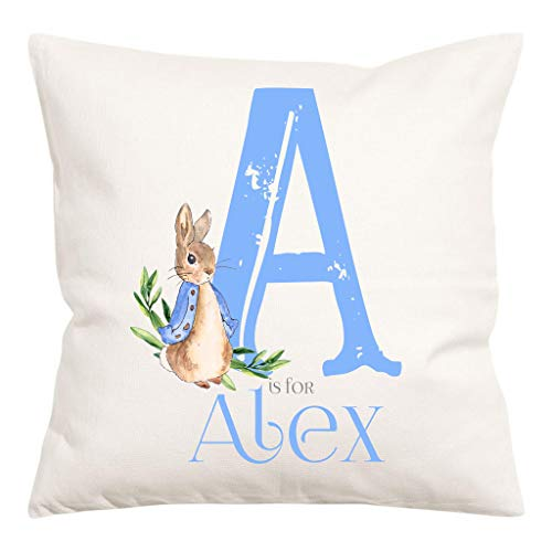 Print Maniacs Personalised Canvas Peter Rabbit Christening Gift Nursery Baby Beatrix Potter Pillow Cover (Blue)