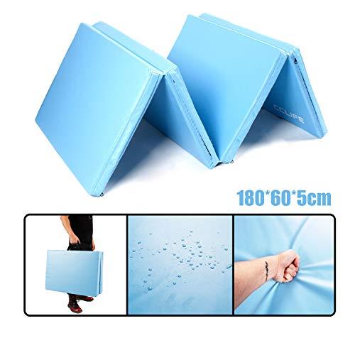 CCLIFE 180x60 180x120x5 Klappbare Weichbodenmatte Turnmatte für Zuhause Fitnessmatte Gymnastikmatte rutschfeste Sportmatte Spielmatte (180x60x5cm Hellblau, 4 Elemente)