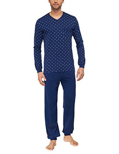 Seidensticker Herren Zweiteiliger Schlafanzug Lang, Blau (Balu Dunkelblau 803), Medium (Herstellergröße: 50)