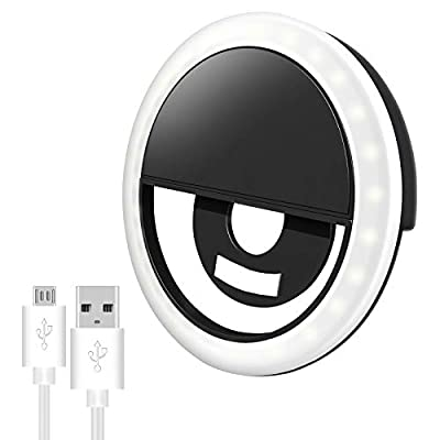Selfie Ring Light for iPhone & Android, Rechargeable Portable Clip-on Selfie Light for Smart Phone Camera, Girls Makeup(White) by DAYFULI-1