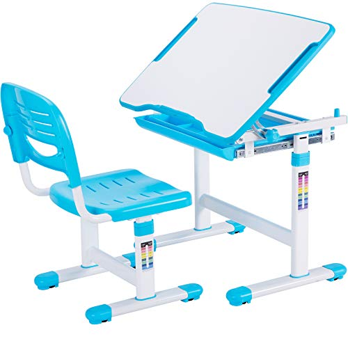 VIVO Blue Height Adjustable Childrens Desk...