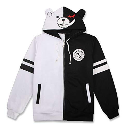 MANYU Black White Bear Hoodies Anime Danganronpa Monokuma Hoodie Jacket Cosplay Costume (Monokuma1, Small)