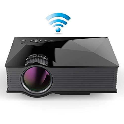 """Dinly Updated Full Color 130"""" Image Entertainment Home Cinema Theater Multimedia Portable LCD LED Pico Projector 800x480p/1200 Lumens WiFi/USB/av/sd/hdmi/vga/IP/IR Video Games Movie"""