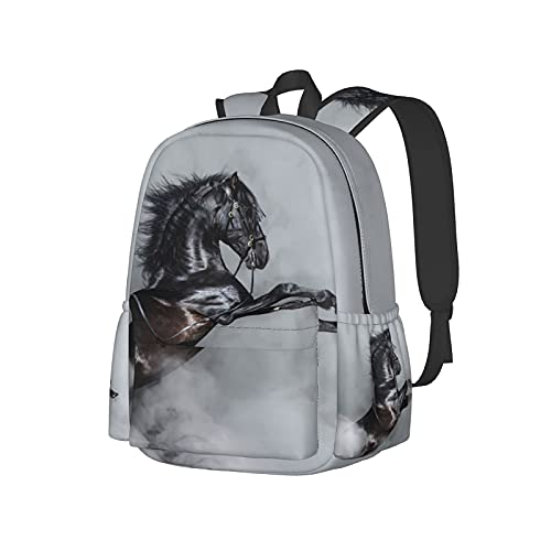 QQIAEJIA Zaino da 17 pollici Cool Black Horse Portrait Zaino per laptop Borsa a tracolla School Bookbag Casual Daypack