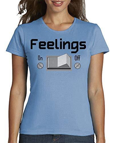 latostadora - Camiseta Feelings para Mujer Azul Cielo XXL