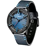 Mens Watches Leather Strap Waterproof Fitness Sports Stainless Steel Quartz Movement Analog Fashion Business Minimalist Blue Watches for Men