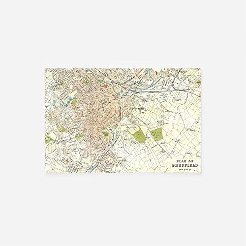 // TPCK // Vintage Map of Sheffield From 1890 Fotodruck Poster Geschenk Alte Historic - A-Größen A3 (29.7 x 42.0cm)