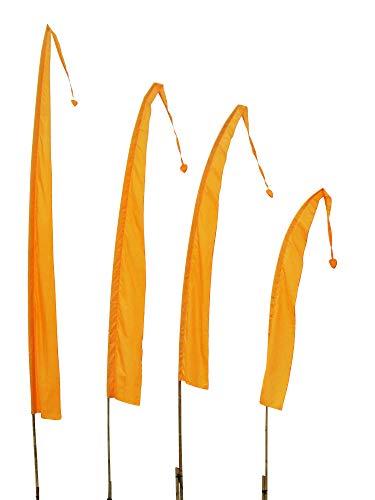 DEKOVALENZ Balifahnen-Stoff SANUR |mit herzförmiger Spitze | Umbul Asien-Fahnen | Fahnenlänge: 4 Meter | Farbe: Goldgelb