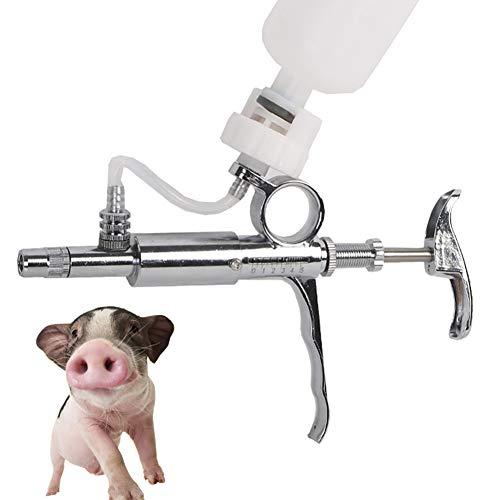 WU 5ml Edelstahl Spritze, Kontinuierlich Einstellbar Tier Injector, Veterinär-Impfstoff Spritze,Geeignet für die Impfung