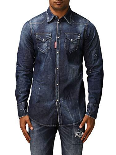 DSQUARED2 Camisa Vaquera Lavado Oscuro Modelo S74DM0453S30341 Color Jean Oscuro. (48)