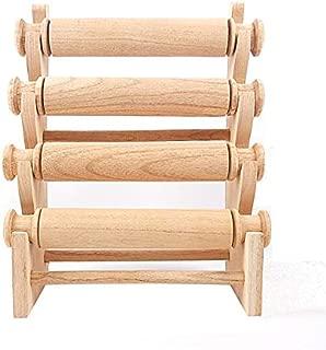 Expositor de pulsera y relojes de 4 barras de madera maciza