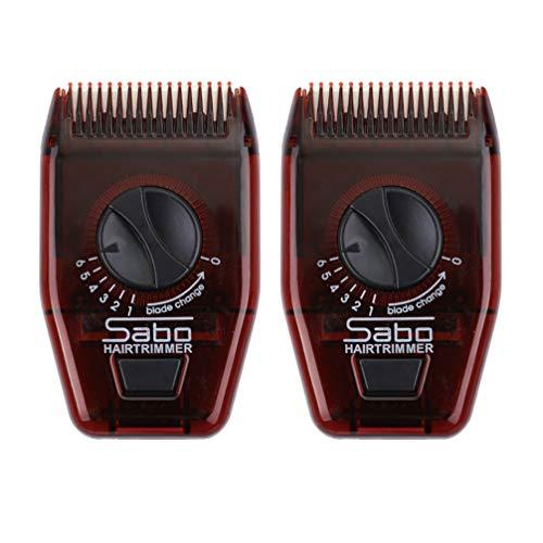 Beaupretty 2Pcs Tondeuse à Cheveux Manuelle Peigne Voyage Mini Peigne à Cheveux Réglable Peigne de Coiffure Portable Rasoir Multifonctionnel Rasoir de Rasage pour Femme Hommes (Rouge Foncé)
