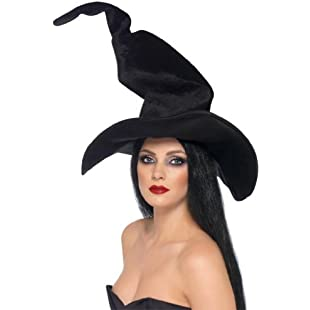 3 X Smiffy's Witch Hat, Tall and Twisty Velour - Black