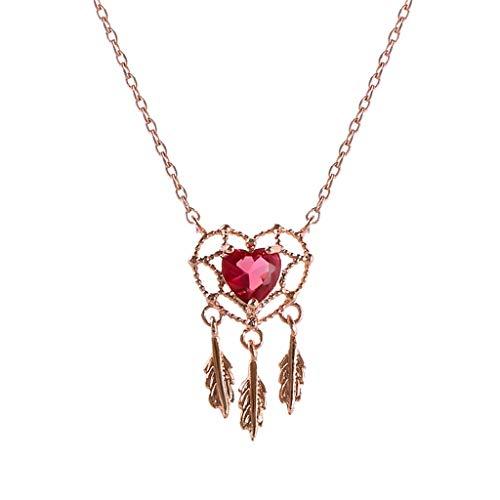 LFY Collar de clavícula de Oro Rosa de 18 Quilates, Colgante de Piedras Preciosas de Amor, Regalo para Novia
