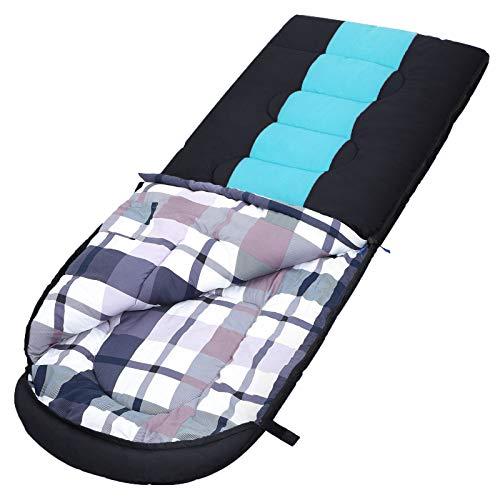 SONGMICS Schlafsack mit Kompressionsbeutel, breiter Deckenschlafsack, Komforttemperatur 5-15°C, 3-4 Jahreszeiten, leicht zu transportieren, Camping, Wandern, 220 x 84 cm, schwarz-türkisblau GSB30BG