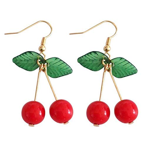 SONGAI Alloy Green Leaf Red Cherry Fruit Shape Dangle Without Pierced Ear Hook Clip Earrings Women Jewelry,Colour Name:2# Bracelets Earrings Rings Necklaces (Color : 1#)