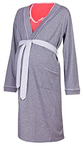 HAPPY MAMA Umstands Stillnachthemd und Morgenmantel. Separat erhältlich. 393p (Morgenmantel - Graphit, EU 44/46, 2XL)