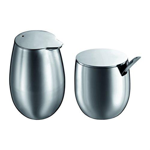 Bodum COLUMBIA Zucker- und Milch-Set (Edelstahl, Milchkännchen, Zuckerdose) matt