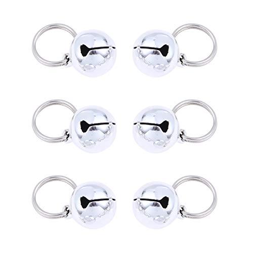 popetpop 6pcs Pet colgantes Campanas Gato encanto Campanas collares para animales accesorios Colgante Collar (Plata)