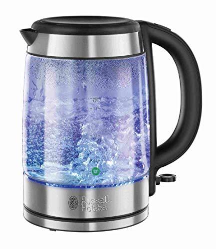 Russell Hobbs Glass - Hervidor de Agua Electrico (2200 W, 1,7l, Cristal, Acero Inoxidable, Azul y Gris) - ref. 21600-57