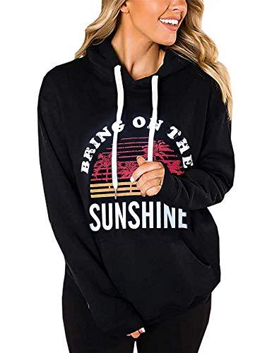 Irevial Women's Rainbow Hoodies Tops Long Sleeve Graphic Pullover Sweatshirt with Pocket Sunshine XL