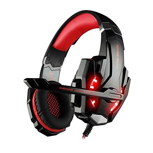 YHLZ Gaming Headset, Gaming Headset for PS4 PC, Wired Gaming Casque stéréo Basse avec réducteur de Bruit, Microphone réglable, contrôle de Volume, LED