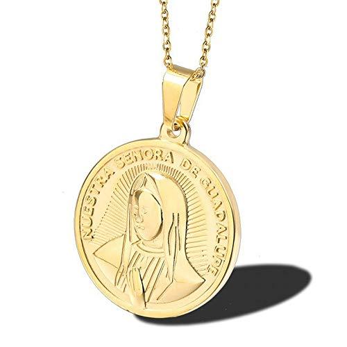 Burenqi Hanger Ketting Ronde RVS Goud Guadalupe Coin Hanger Medal Kettingen Vrouwen