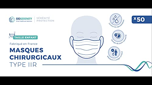 Boite de 50 masques chirurgicaux type IIR ENFANT BioSerenity - Made in France