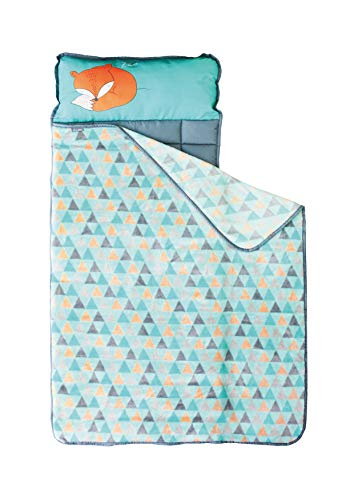 Nap Mats for Preschool Kinder Daycare - Toddler Kids Portable Sleeping Mat with Blanket + Pillow - Perfect for Boys or Girls (Sleepy Fox)