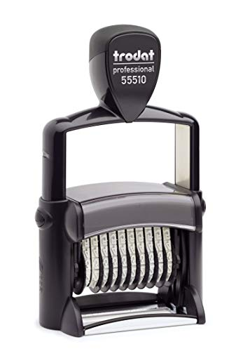 Trodat Professional Numberer, 10 Digit Self-Inking Numbering Stamp, 3/8 x 2 1/4 Inches (T55510)