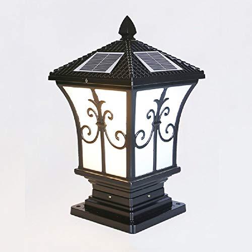 KMYX Led-lantaarn voor buiten, tuin, binnenplaats, brug, hoge muur, hek, buitenverlichting, zuil, aluminium, IP44, parkeerverlichting, kleur: zwart