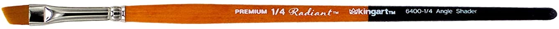 KINGART 6400-1/4 TAKLON Angular SAHDER Paint Brush, 1/4, Black, Silver, Orange