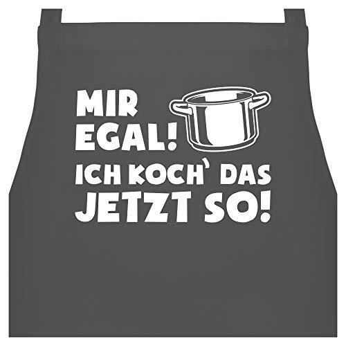 Shirtracer Schürze mit Motiv - Mir egal ich koch das jetzt so - Topf - 60 x 87 cm (B x H) - Anthrazit - mir doch egal schürze - PW102 - Kochschürze für Männer und Damen