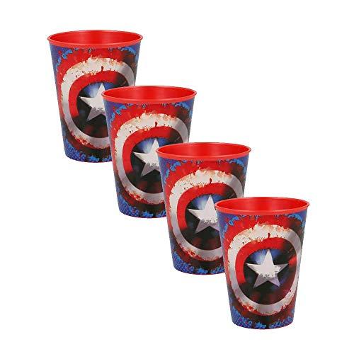 Juego de 4 vasos de plástico duro para niños Avengers Capitán América de 260 ml.